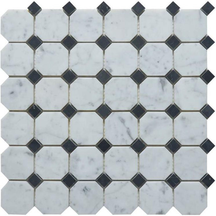 "Carrara White and Nero Black Marble Mosaic Tile in 2"" Octagon Pattern - Polished - TileBuys"