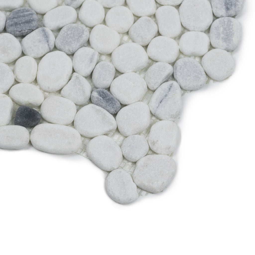 Carrara White and Zebra Marble Mosaic Tile - Flat Pebble Pattern for Bathroom Floors - TileBuys