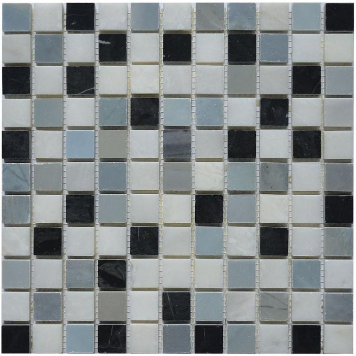 "Carrara White, Blue Moonstone & Nero Black Marble 1x1"" Squares Mosaic Tile in Grecian Moon - TileBuys"