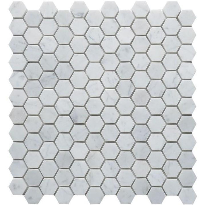 "Carrara White Marble Mosaic Tile in 1"" Hexagons Pattern - Polished - TileBuys"