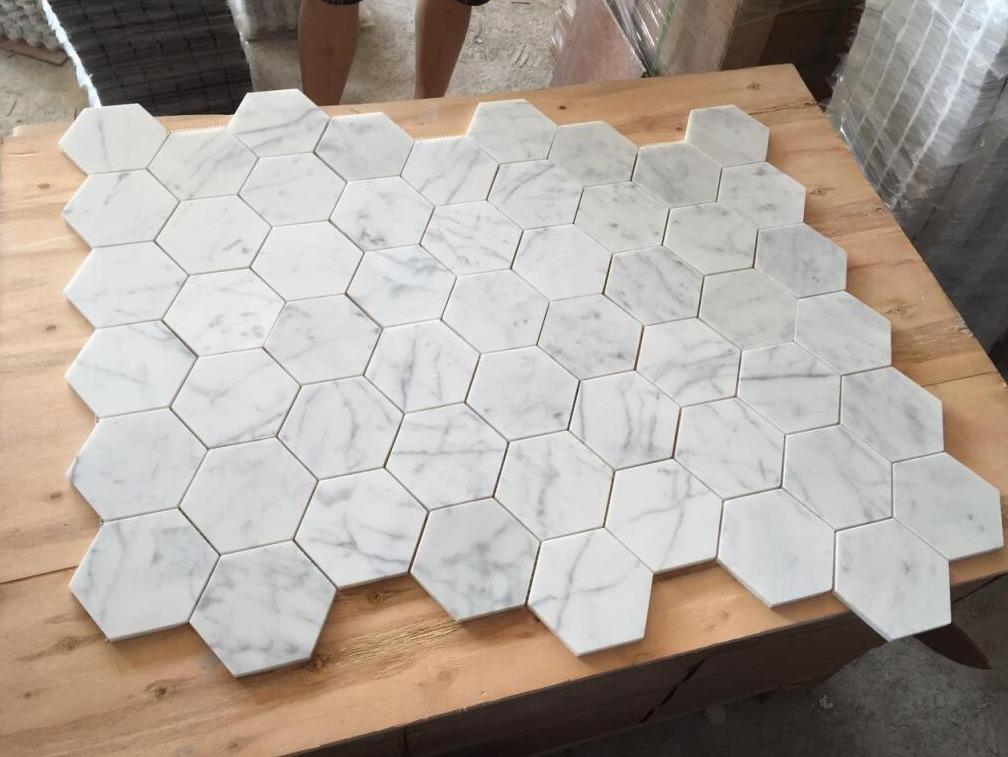 "Carrara White Marble Mosaic Tile in 2"" Hexagons Pattern - Polished or Honed - TileBuys"