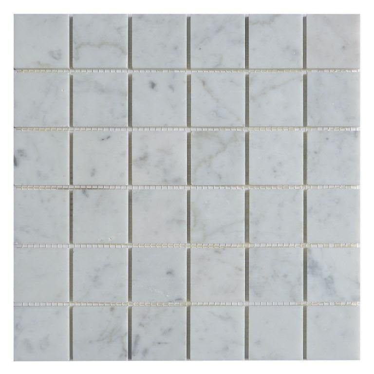 "Carrara White Marble Mosaic Tile in 2"" Squares Pattern - Polished - TileBuys"