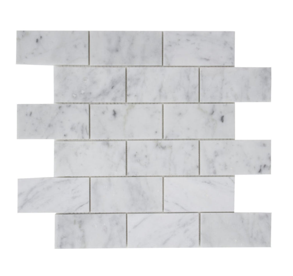 "Carrara White Marble Mosaic Tile in 2x4"" Mini Brick Subway Tiles Pattern - Honed - TileBuys"
