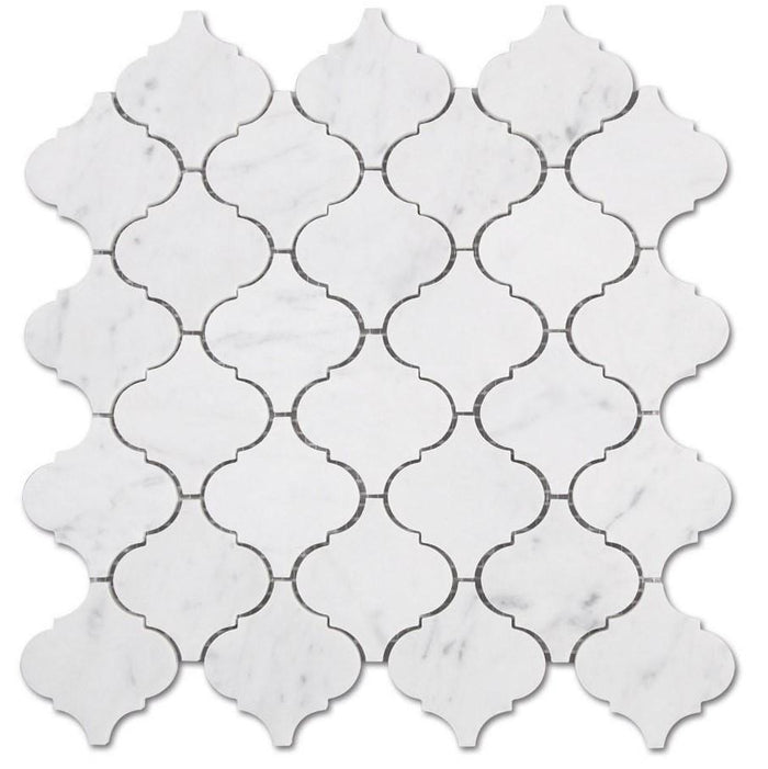 "Carrara White Marble Mosaic Tile in 3"" Moroccan Arabesque Lanterns Pattern - Polished - TileBuys"