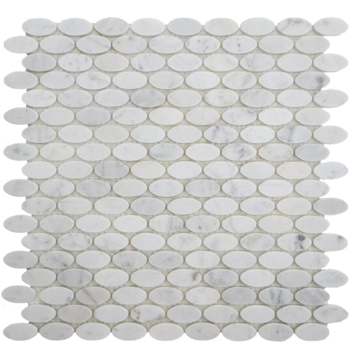 "Carrara White Marble Mosaic Tile in 5/8"" Oval Pattern - Honed - TileBuys"