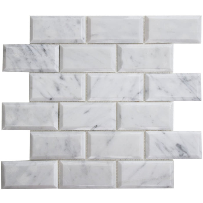 "Carrara White Marble Mosaic Tile in Beveled 2x4"" Mini Brick Subway Tiles Pattern - Polished - TileBuys"