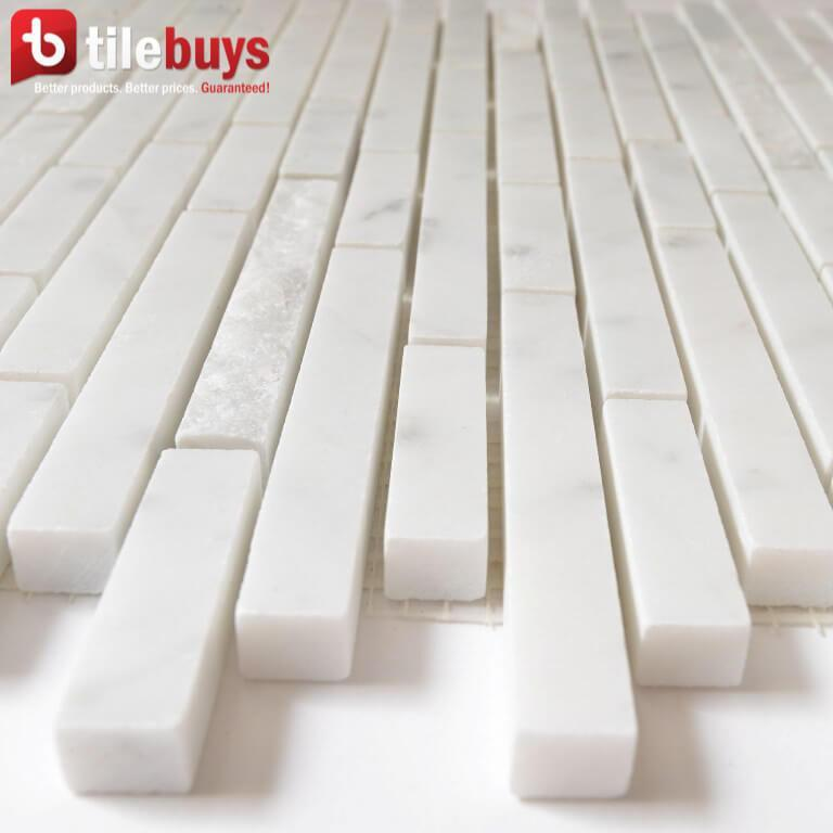 Carrara White Marble Mosaic Tile in Linear Strips Pattern with Mixed Finishes - TileBuys