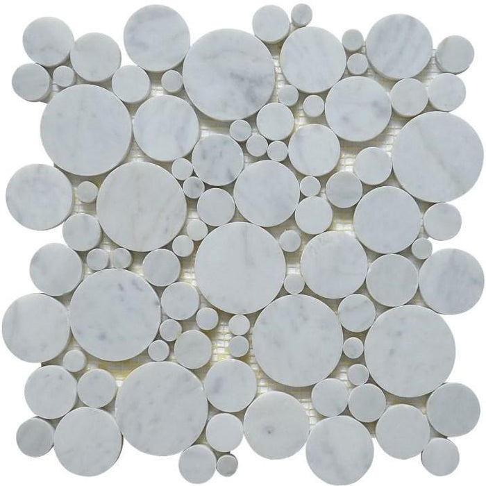 Carrara White Marble Mosaic Tile in Mixed Rounds Pattern - Polished - TileBuys