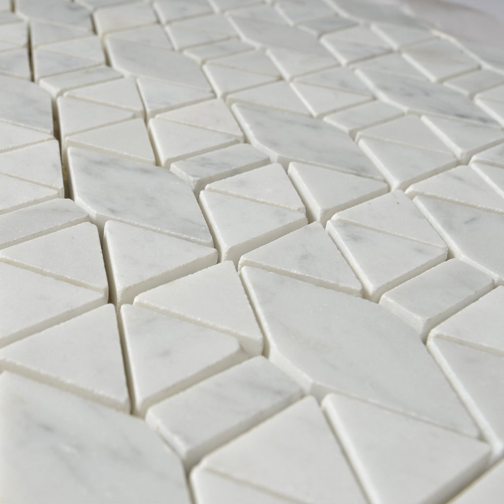 Carrara White Marble Mosaic Tile in Triangular Geometric Pattern - Polished or Honed - TileBuys