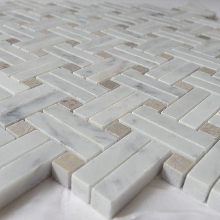 Carrara White Marble Mosaic Tile - Knot Basketweave with Lady Grey Accent Squares - Polished - TileBuys