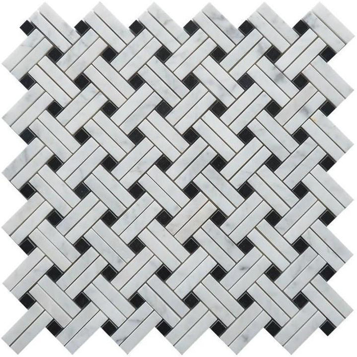 Carrara White Marble Mosaic Tile - Knot Basketweave with Nero Black Accent Squares - Polished - TileBuys