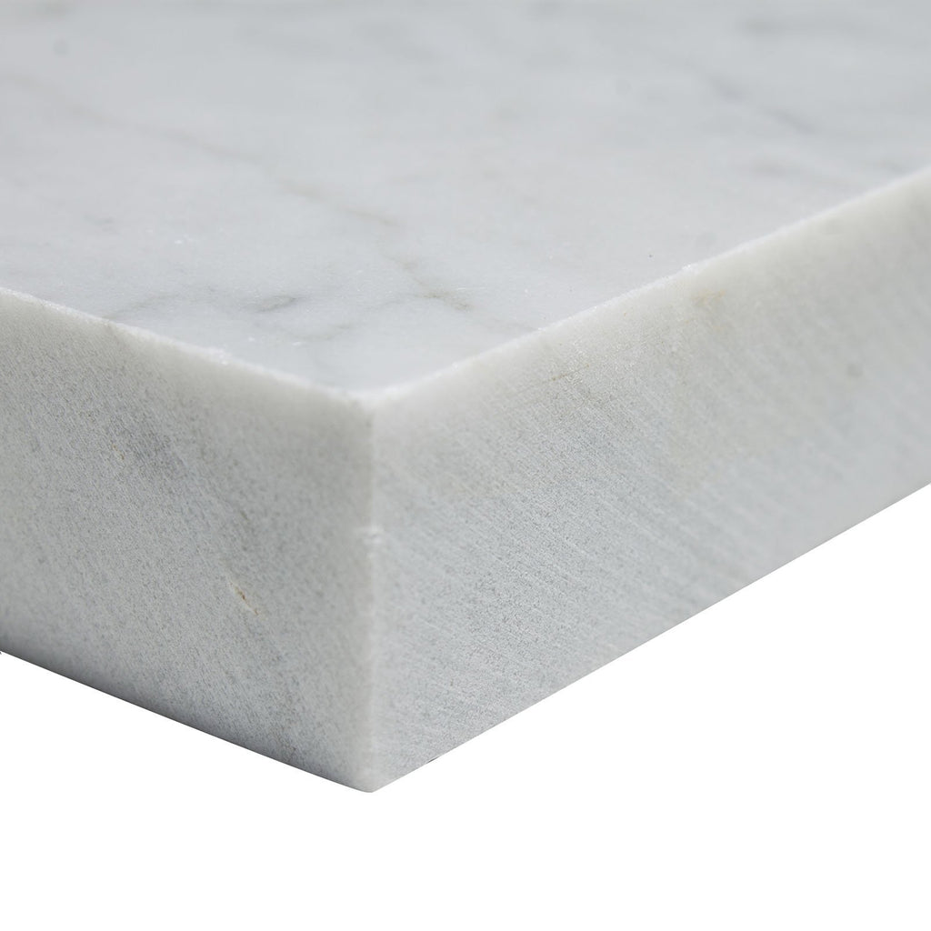 "Carrara White Marble Shelf - 9"" Corner Shower Shelf - Polished - TileBuys"