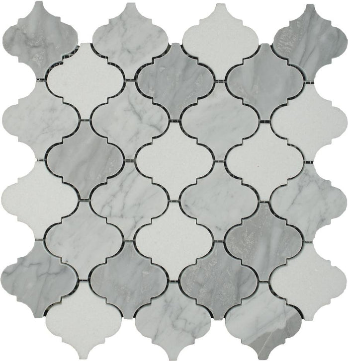 "Carrara White, Milano Gray and White Thassos Marble Waterjet Mosaic Tile in 3"" Arabesque Lanterns - TileBuys"
