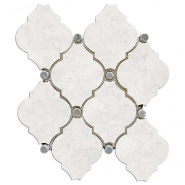 Carrara White Waterjet Mosaic Tile with Grey Marble Accent Dots in Safi Lanterns - TileBuys