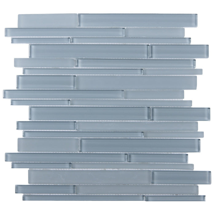 Cerulean Blue Glass Random Linear Strip Mosaic Tile - TileBuys