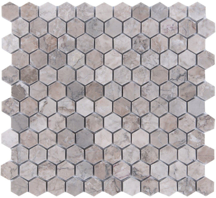 "Cloud Marble Mosaic Tile in 1"" Hexagons - Polished - TileBuys"