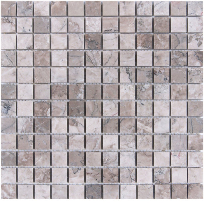 "Cloud Marble Mosaic Tile in 1"" Squares - Polished - TileBuys"