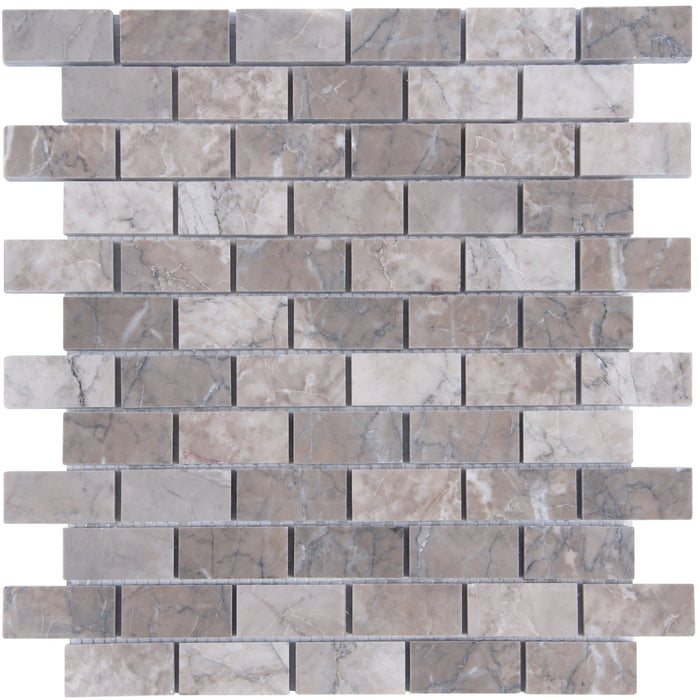 "Cloud Marble Mosaic Tile in 1x2"" Mini Brick Subway Tiles - Polished - TileBuys"