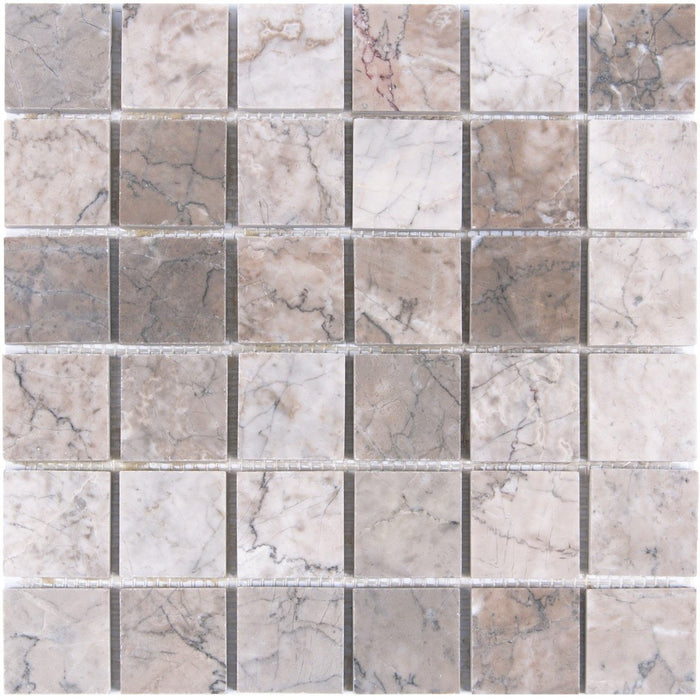 "Cloud Marble Mosaic Tile in 2"" Squares - Polished - TileBuys"