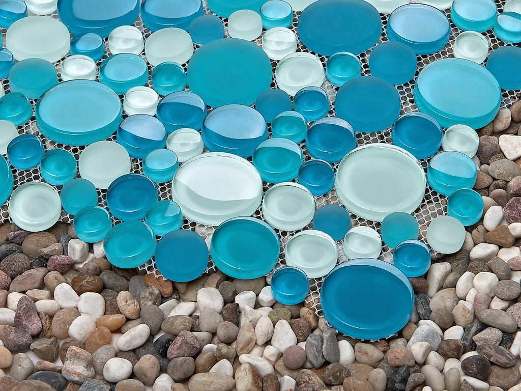 Coastal Blue + Green Glass Mosaic Penny Circle Round Tile - TileBuys