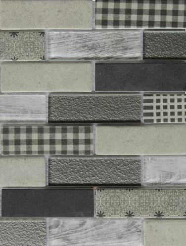 Coastal Gray Textured Glass Mini Brick Mosaic Wall Tile in Gingham - TileBuys