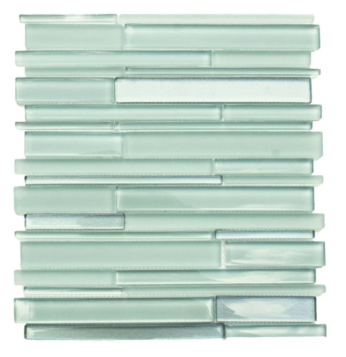 Coastal Green Glass Simple Strip Mosaic Tile in Sea Glass - TileBuys