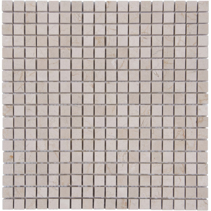 "Cream Marfil Marble Mosaic Tile - 5/8"" Squares - Polished - TileBuys"