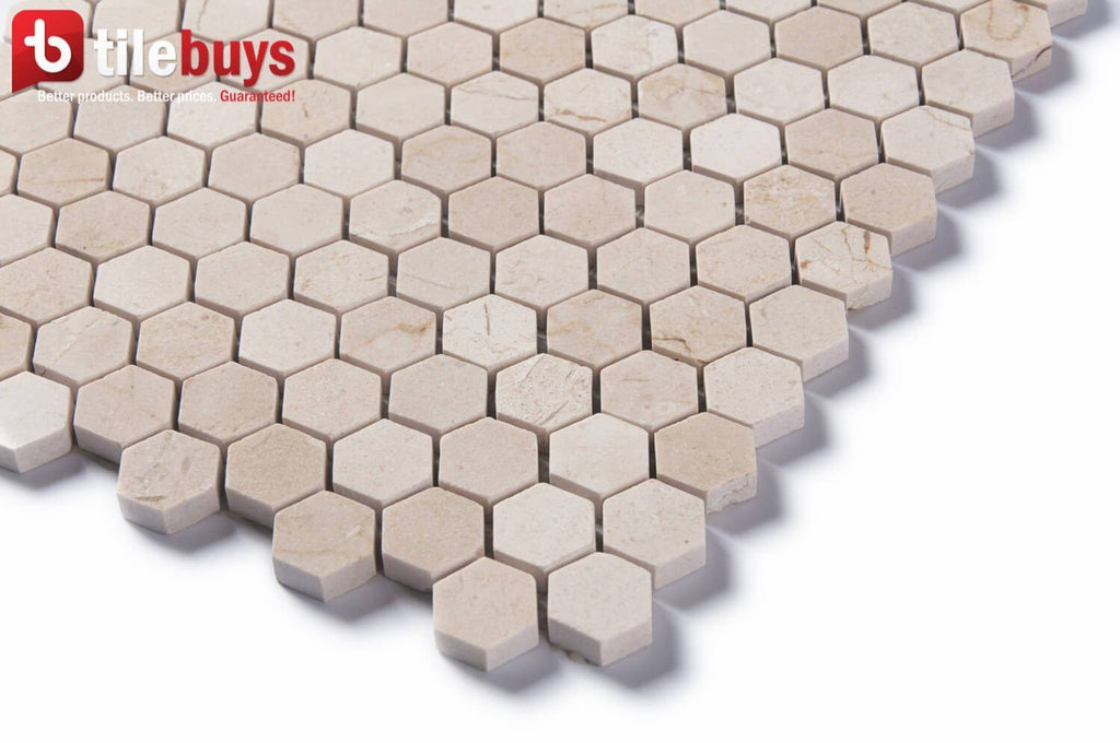 "Crema Marfil Marble Mosaic Tile - 1"" Hexagons - Polished - TileBuys"