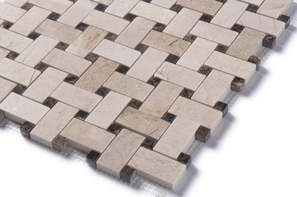 "Crema Marfil Marble Mosaic Tile - 1x2"" Basketweave Strips with Dark Emperador Accent Squares - Polished - TileBuys"
