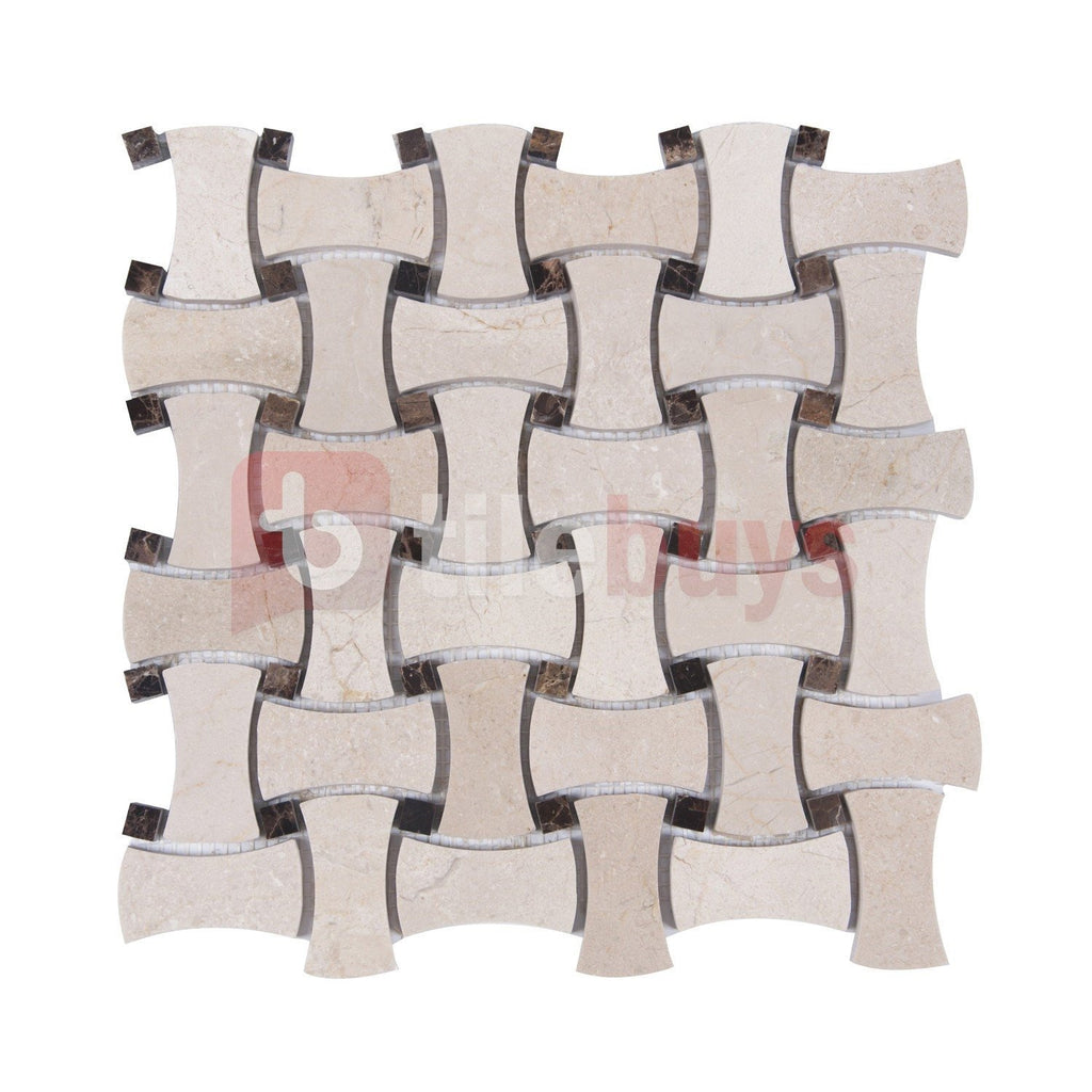 Crema Marfil Marble Mosaic Tile - Bone Basketweave with Dark Emperador Square Accents - Polished - TileBuys