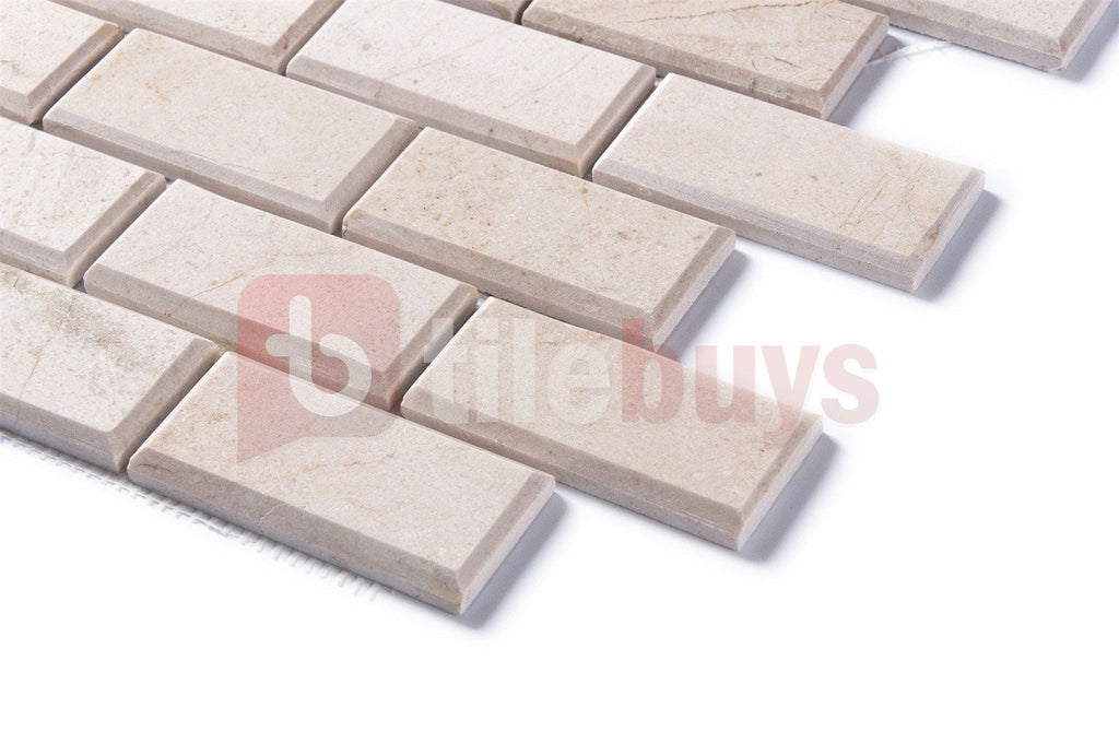 "Crema Marfil Marble Mosaic Tile in Beveled 2x4"" Mini Brick Subway Tiles Pattern - Polished - TileBuys"