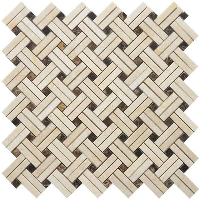 Crema Marfil Marble Mosaic Tile - Knot Basketweave with Dark Emperador Accent Squares - Polished - TileBuys