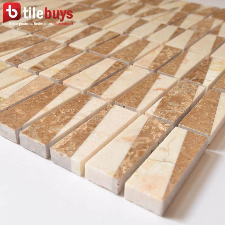 "Crema Marfil & Turkish Marfil Marble Mosaic Tile - 5/8x2"" Mini Bricks - Polished - TileBuys"