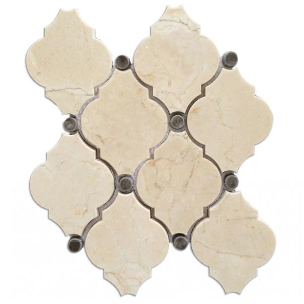 Crema Marfil Waterjet Mosaic Tile with Grey Marble Accent Dots in Safi Lanterns - TileBuys