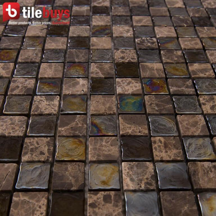 Dark Brown Stone & Glass Small Square Mosaic Wall Tile - TileBuys