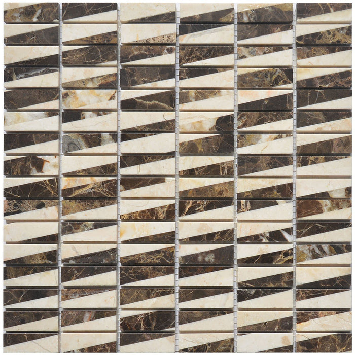 "Dark Emperador & Crema Marfil Marble Mosaic Tile - 5/8x2"" Mini Bricks - Polished - TileBuys"