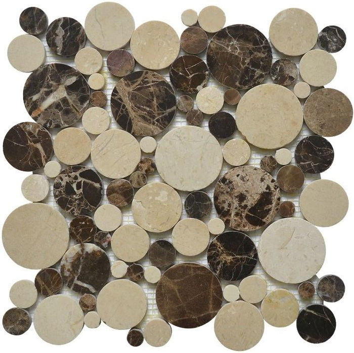 Dark Emperador & Crema Marfil Marble Mosaic Tile in Mixed Rounds Pattern - Polished - TileBuys