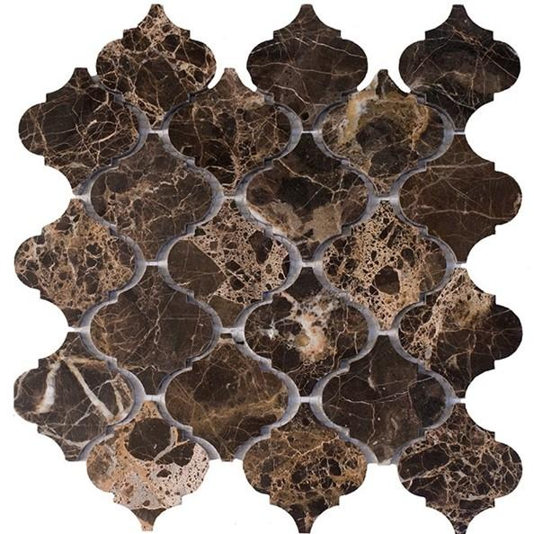 "Dark Emperador Marble Mosaic Tile in 3"" Arabesque Lanterns Pattern - Polished - TileBuys"