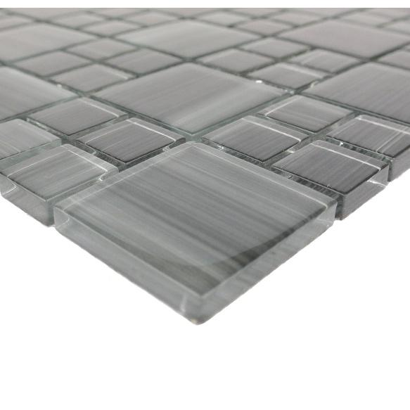 Dark Gray Glass Mosaic Tile - Multi-Size Squares and Rectangles - TileBuys