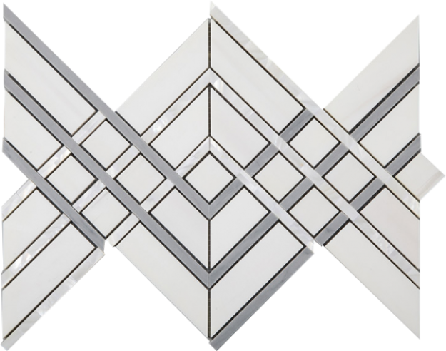 Mother of Pearl, Dolomite White and Latin Gray Marble Waterjet Mosaic Tile in Denali