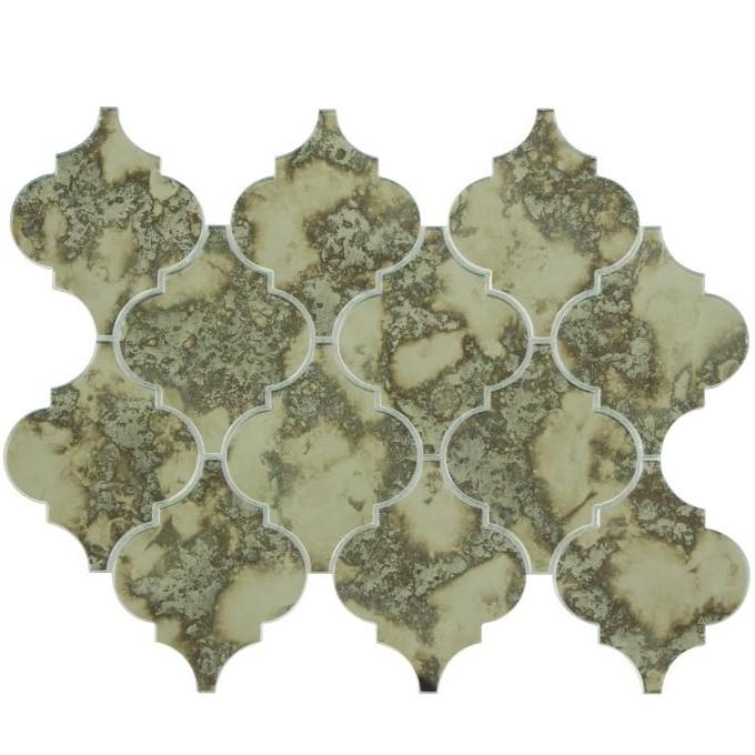 Distressed Antique Mirror Glass Mosaic Tile in Arabesque Lanterns - TileBuys