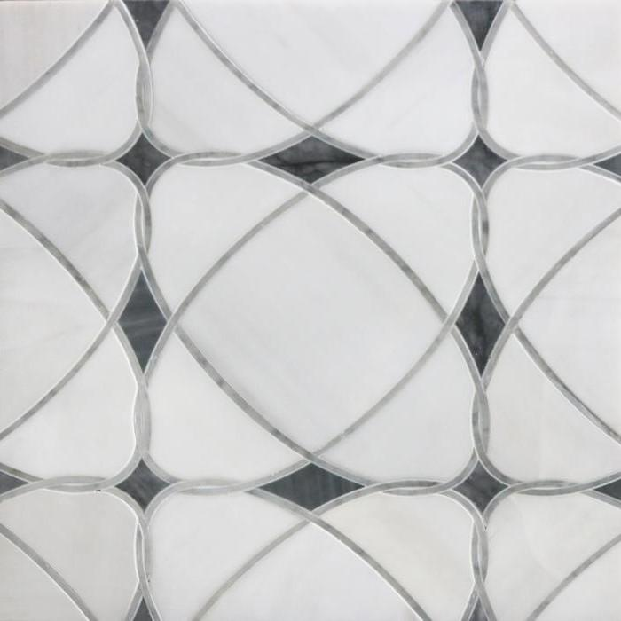 Dolomite White and Palissandro Blue Marble Waterjet Mosaic Tile in Saturn - TileBuys