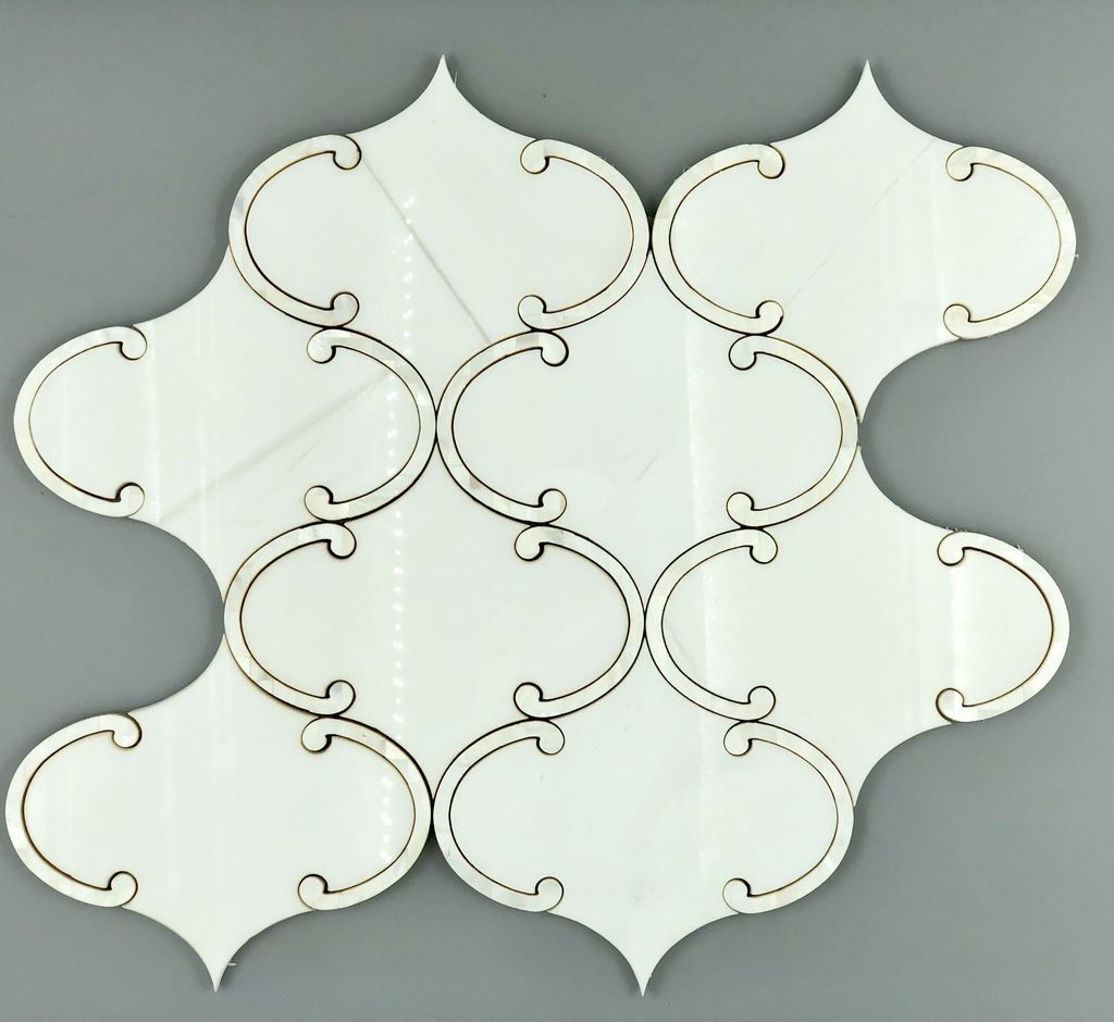 Floating Lantern Dolomite White Marble and Mother of Pearl Waterjet Mosaic Tile - TileBuys
