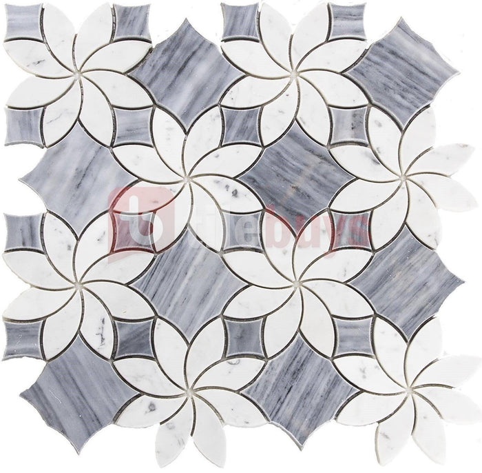 Floral Pattern Bardiglio Grey and Carrara White Marble Waterjet Mosaic Tile - TileBuys