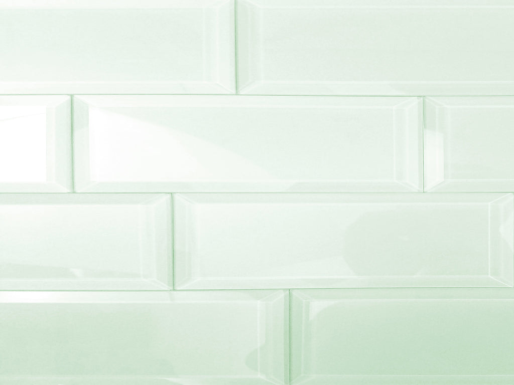"Frosted Glass 3x12"" Beveled Field Tile in Mint - Glossy or Matte Finish - TileBuys"