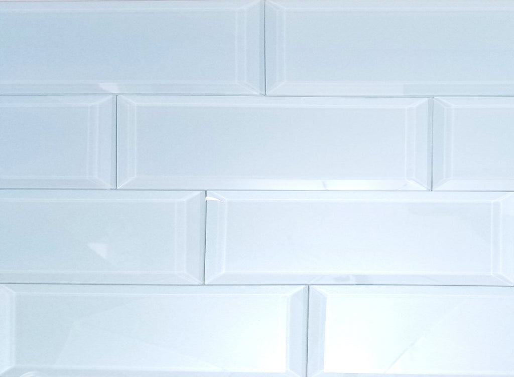 "Frosted Glass 3x12"" Beveled Field Tile in Sky Blue - Glossy or Matte Finish - TileBuys"