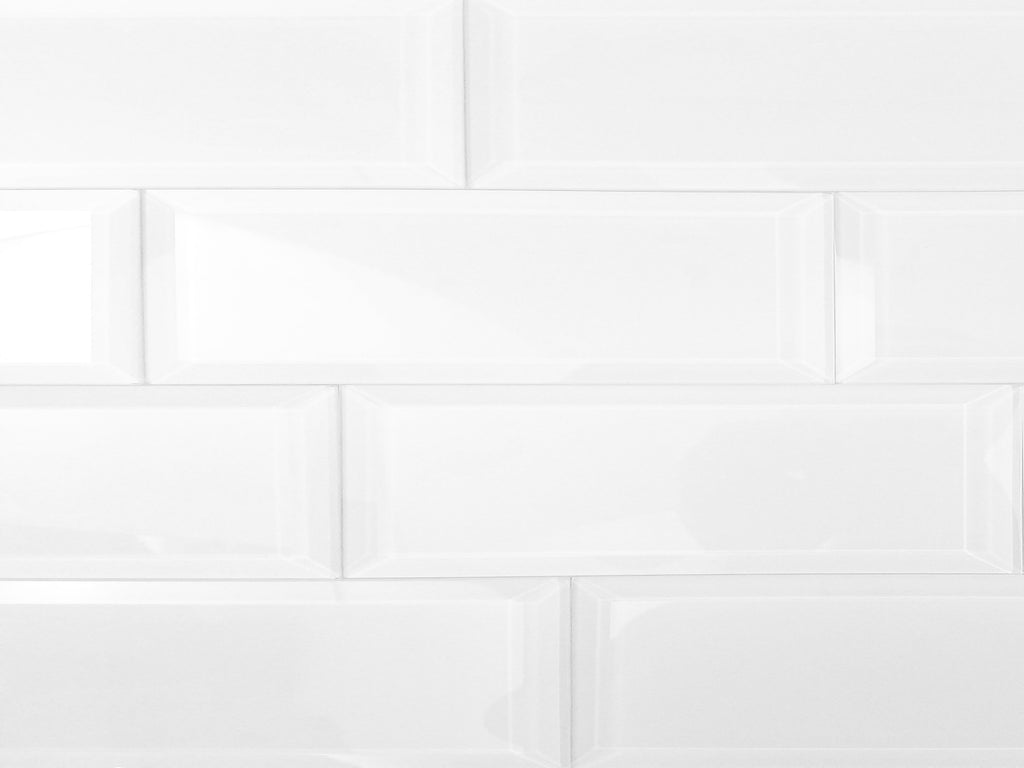 "Frosted Glass 3x12"" Beveled Field Tile in White - Glossy or Matte Finish - TileBuys"