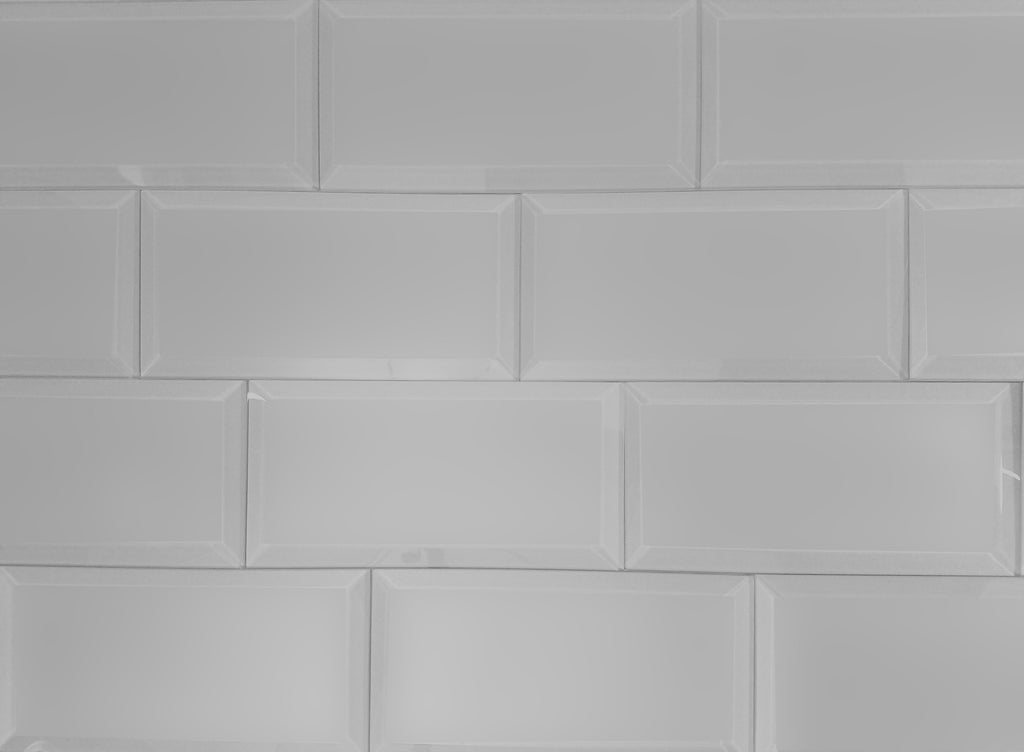 "Frosted Glass 3x6"" Beveled Field Tile in Grey - Glossy or Matte Finish - TileBuys"