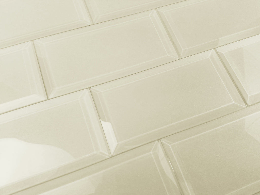 "Frosted Glass 3x6"" Beveled Field Tile in Light Beige - Glossy or Matte Finish - TileBuys"