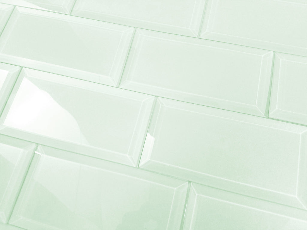 "Frosted Glass 3x6"" Beveled Field Tile in Mint - Glossy or Matte Finish - TileBuys"